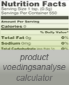 voedingsanalyse calculator